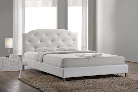 Platform Bed White Amazon Com Baxton Studio Canterbury Leather Contemporary Bed