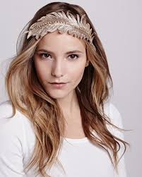 colette malouf colette malouf embroidered feather headband gold