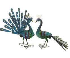 special offer blue gold peacock up and garden ornament