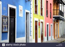 colorful house facades old san juan puerto rico stock photo