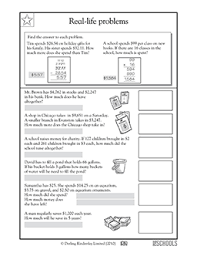 4th grade 5th grade math worksheets real life problems dollars