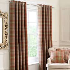 Living Room Curtains Blinds Rust Highland Check Lined Eyelet Curtain Collection Dunelm