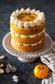 pumpkin creme brûlée cake white chocolate frosting chocolate