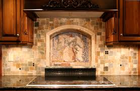 kitchen wall backsplash ideas kitchen subway tiles with mosaic accents backsplash tumbled