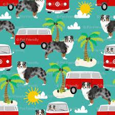 australian shepherd yard art australian shepherd beach mini bus hippie surfing dog fabric