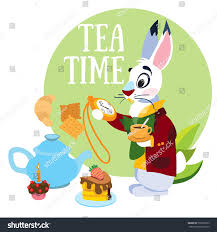 alice in wonderland template white rabbit hurrying mad tea party stock vector 533050912