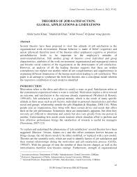 theories of job satisfaction global applications u0026 limitations