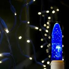 blue led icicle lights on white wiring for and