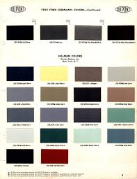 hillman paint colour chart 1958 du pont rootes and related