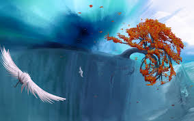 fantasy autumn wallpaper fantasy art surreal animals birds fishes ocean sea trees autumn