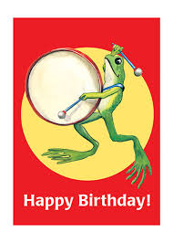 frog playing big drum greeting card bagged with envelope