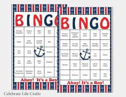 60 anchor baby shower bingo cards 60 prefilled bingo cards
