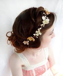 flower girl hair accessories gold hair accessories chagne hair flower flower wreath