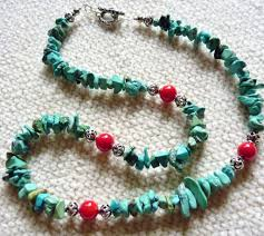 natural turquoise necklace images Southwestern natural turquoise chip and coral sterling necklace jpg