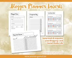 blog u0026 social media planner tracker printable inserts a5 and