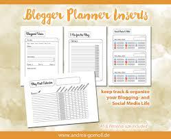 blog u0026 social media planner tracker printable inserts a5