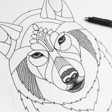 easy outlines of animals zentangle wolf template diy animal tangle origami zoo
