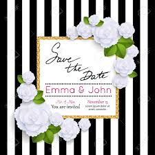 save the date cards with paper flowers and gold frame marriage