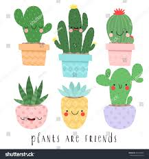 set of six illustrations of cute cartoon cactus and succulents