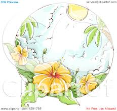 clipart of a sketched scene of tropical yellow hibiscus flowers