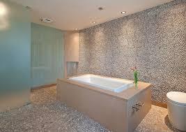 White Pebble Tiles Bathroom - contemporary master bathroom with drop in bathtub u0026 powder room in