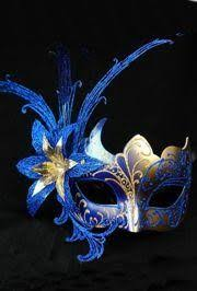 blue mardi gras blue and gold venetian painted masquerade mask with blue