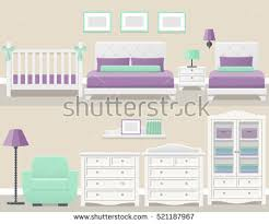 White Bedroom Cupboard - set white bedroom furniture flat design stock vector 521187967