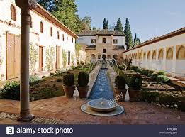 Moorish Architecture Moorish Architecture Patio De La Acequia Alhambra Granada Stock