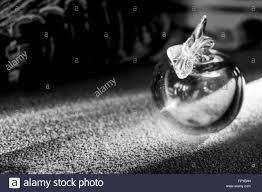 monochrome image of a glass apple ornament catching the sun