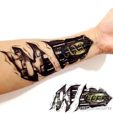 3d machine tattoo temporary tattoo stickers men decoration body