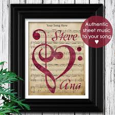 romantic gift for wife custom sheet music art valentines day gift for her