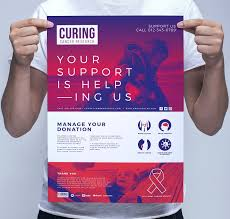 cancer charity poster template flyer templates creative market