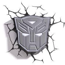 3d deco fx transformers autobot shield bedroom wall night led