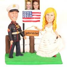 custom army and nautical military wedding cake toppers