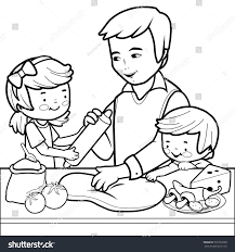 father children cooking pizza kitchen coloring stock vector