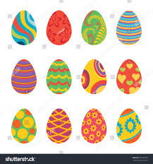 set easter eggs design flat easter stock vector 381691858