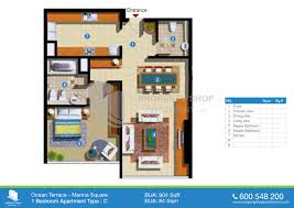 floor plans ocean terrace marina square al reem island 1 bedroom type c 904 sqft