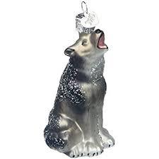 world howling wolf glass blown ornament