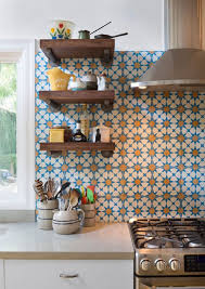 colorful kitchen backsplashes colorful kitchen decoration using blue orange flower patterned