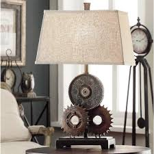 industrial cog table lamp rustic gears light industrial garden