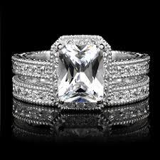 Vintage Wedding Ring Sets emerald cut cz wedding ring set petite 2 5 carats