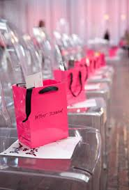 pink gift bags v i p guests got seating by the runway and gift bags betsey