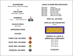 banquet program templates and gold banquet at cub scout pack 414