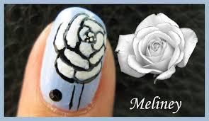 white flower free hand nail art design tutorial for short nails