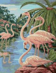 vintage 1950s flamingos cross stitch pattern adapted from a