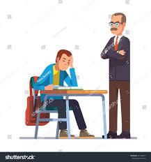Picture Of Student Sitting At Desk Professor Teacher Looking Regret On Sleeping Stock Vector