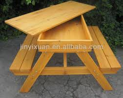 Wooden Picnic Tables With Separate Benches Wooden Picnic Table And Bench With Sandpit Outdoor Table