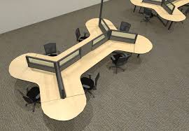 open office desk dividers glass divider panels in this dogbone cubicle eases communication