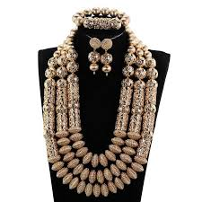 gold beaded necklace set images Delicate dubai gold beads statement necklace set nigerian african jpg
