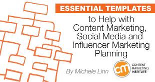 key templates for content marketing social media influencer planning